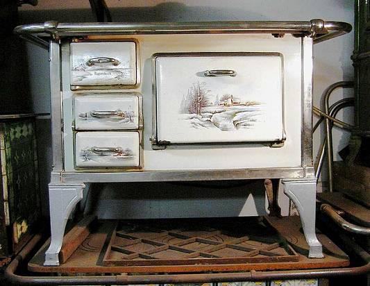 deutscher herd von k ppersbusch mit winterlandschaft um 1920 emailliert. Black Bedroom Furniture Sets. Home Design Ideas